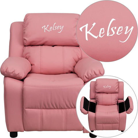Flash Furniture BT-7985-KID-PINK-EMB-GG Personalized Deluxe Heavily Padded Pink Vinyl Kids Recliner with Storage Arms - Peazz Furniture