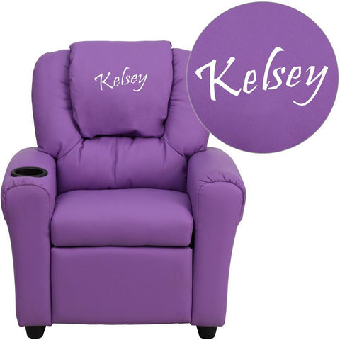Flash Furniture DG-ULT-KID-LAV-EMB-GG Personalized Lavender Vinyl Kids Recliner with Cup Holder and Headrest - Peazz Furniture