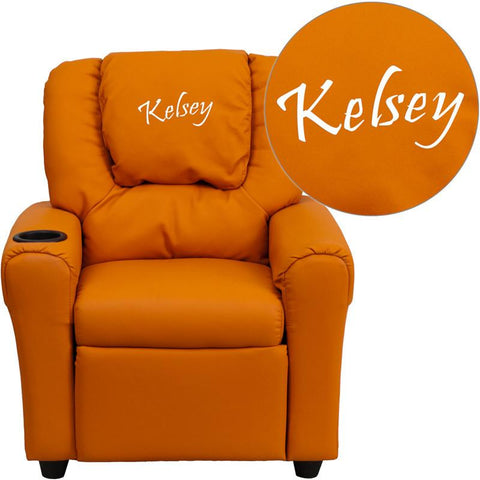 Flash Furniture DG-ULT-KID-ORANGE-EMB-GG Personalized Orange Vinyl Kids Recliner with Cup Holder and Headrest - Peazz Furniture