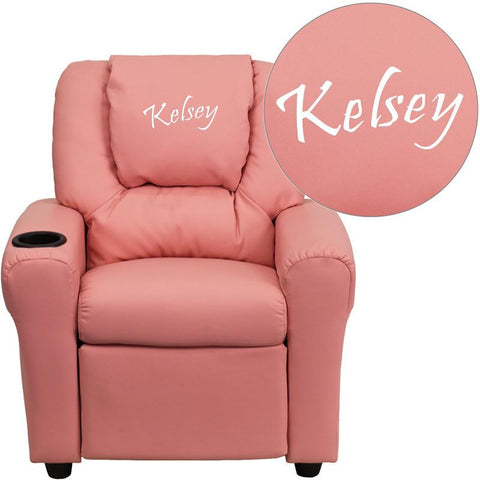 Flash Furniture DG-ULT-KID-PINK-EMB-GG Personalized Pink Vinyl Kids Recliner with Cup Holder and Headrest - Peazz Furniture
