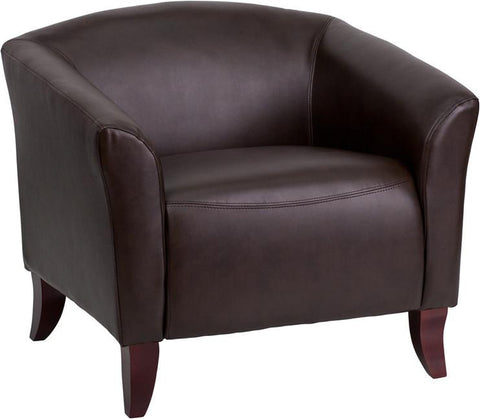Flash Furniture 111-1-BN-GG HERCULES Imperial Series Brown Leather Chair - Peazz Furniture