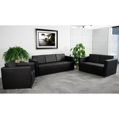 Flash Furniture ZB-TRINITY-8094-SET-BK-GG HERCULES Trinity Series Reception Set - Peazz Furniture