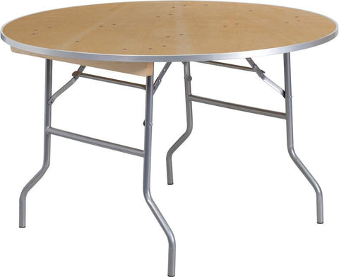 Flash Furniture XA-48-BIRCH-M-GG 48'' Round HEAVY DUTY Birchwood Folding Banquet Table with METAL Edges - Peazz Furniture