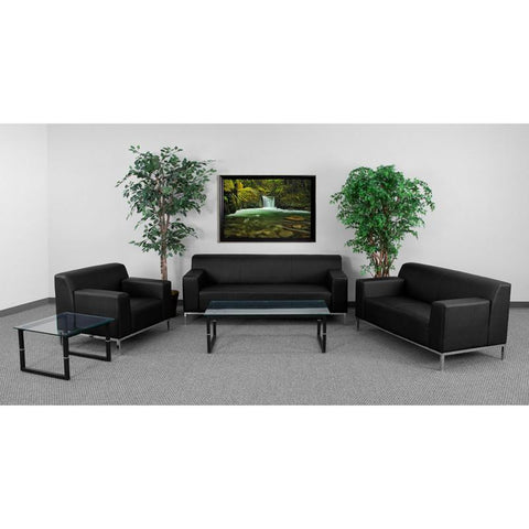 Flash Furniture ZB-DEFINITY-8009-SET-BK-GG HERCULES Definity Series Reception Set - Peazz Furniture