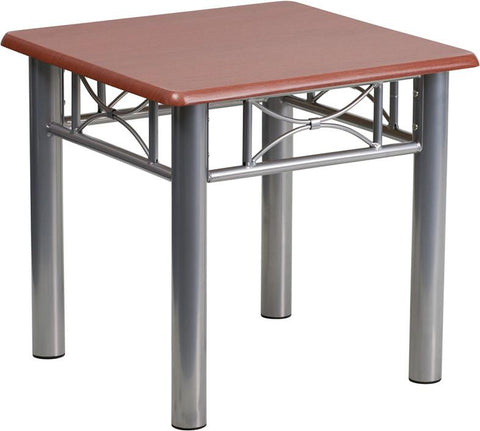 Flash Furniture JB-5-END-MAH-GG Mahogany Laminate End Table with Silver Steel Frame - Peazz Furniture