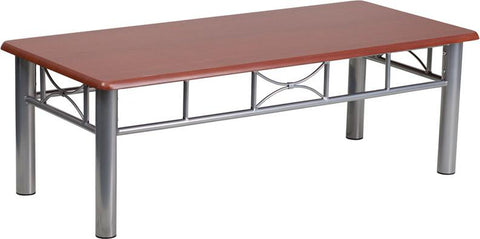 Flash Furniture JB-5-COF-MAH-GG Mahogany Laminate Coffee Table with Silver Steel Frame - Peazz Furniture
