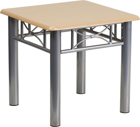 Flash Furniture JB-6-END-NAT-GG Natural Laminate End Table with Silver Steel Frame - Peazz Furniture