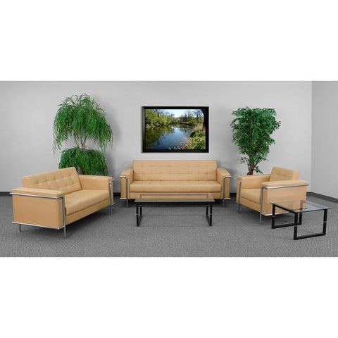 Flash Furniture ZB-LESLEY-8090-SET-BRN-GG HERCULES Lesley Series Reception Set in Light Brown - Peazz Furniture