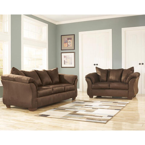 Flash Furniture FSD-1109SET-CAF-GG Signature Design by Ashley Darcy Living Room Set in Cafe Fabric - Peazz Furniture