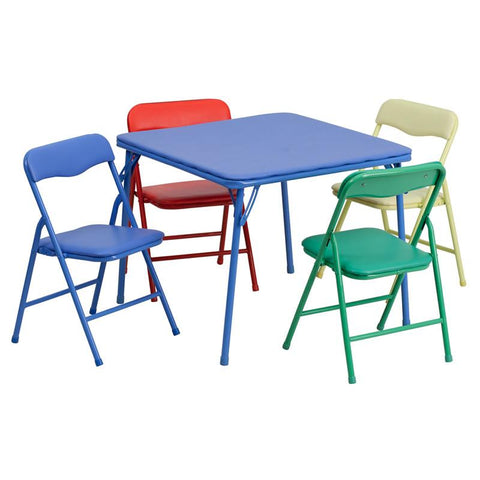 Flash Furniture JB-9-KID-GG Kids Colorful 5 Piece Folding Table and Chair Set - Peazz Furniture