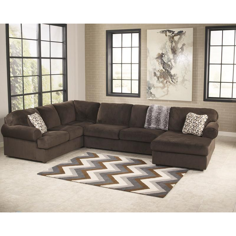 Design Ashley Jessa Place Sectional Chocolate Fabric 13057 Product Photo
