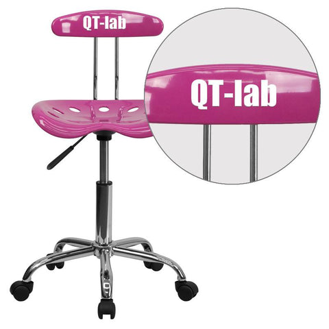 Flash Furniture LF-214-CANDYHEART-EMB-VYL-GG Personalized Vibrant Candy Heart and Chrome Computer Task Chair with Tractor Seat - Peazz Furniture