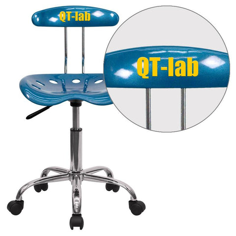 Flash Furniture LF-214-BRIGHTBLUE-EMB-VYL-GG Personalized Vibrant Bright Blue and Chrome Computer Task Chair with Tractor Seat - Peazz Furniture