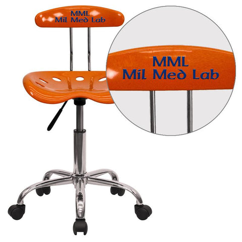 Flash Furniture LF-214-ORANGEYELLOW-EMB-VYL-GG Personalized Vibrant Orange and Chrome Computer Task Chair with Tractor Seat - Peazz Furniture