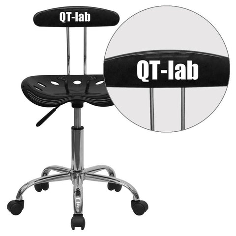 Flash Furniture LF-214-BLK-EMB-VYL-GG Personalized Vibrant Black and Chrome Computer Task Chair with Tractor Seat - Peazz Furniture