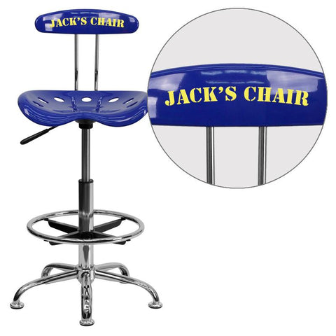 Flash Furniture LF-215-NAUTICALBLUE-EMB-VYL-GG Personalized Vibrant Nautical Blue and Chrome Drafting Stool with Tractor Seat - Peazz Furniture
