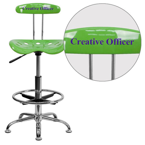Flash Furniture LF-215-SPICYLIME-EMB-VYL-GG Personalized Vibrant Spicy Lime and Chrome Drafting Stool with Tractor Seat - Peazz Furniture