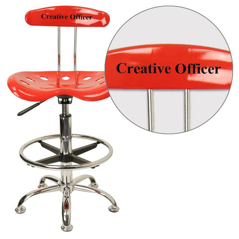 Flash Furniture LF-215-RED-EMB-VYL-GG Personalized Vibrant Red and Chrome Drafting Stool with Tractor Seat - Peazz Furniture
