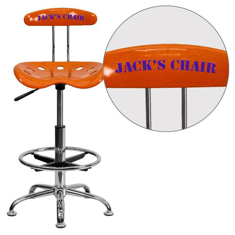 Flash Furniture LF-215-ORANGEYELLOW-EMB-VYL-GG Personalized Vibrant Orange and Chrome Drafting Stool with Tractor Seat - Peazz Furniture