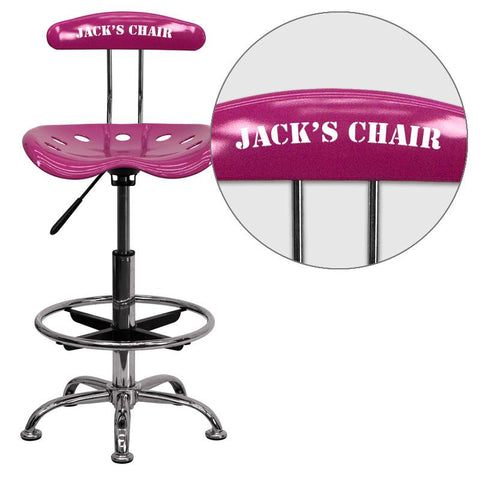 Flash Furniture LF-215-PINK-EMB-VYL-GG Personalized Vibrant Pink and Chrome Drafting Stool with Tractor Seat - Peazz Furniture