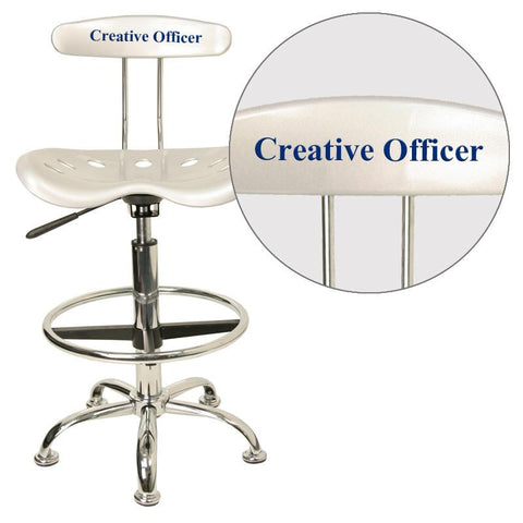 Flash Furniture LF-215-SILVER-EMB-VYL-GG Personalized Vibrant Silver and Chrome Drafting Stool with Tractor Seat - Peazz Furniture