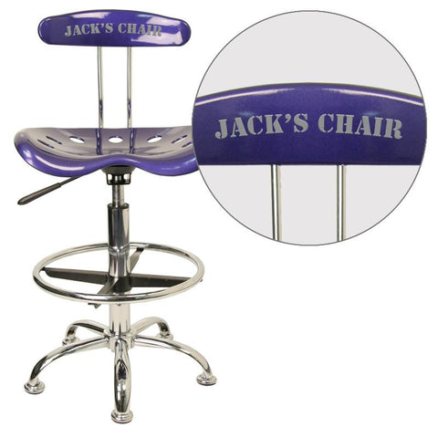 Flash Furniture LF-215-DEEPBLUE-EMB-VYL-GG Personalized Vibrant Deep Blue and Chrome Drafting Stool with Tractor Seat - Peazz Furniture