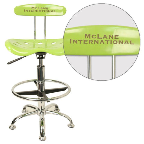 Flash Furniture LF-215-APPLEGREEN-EMB-VYL-GG Personalized Vibrant Apple Green and Chrome Drafting Stool with Tractor Seat - Peazz Furniture