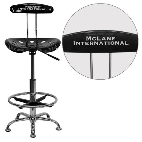 Flash Furniture LF-215-BLK-EMB-VYL-GG Personalized Vibrant Black and Chrome Drafting Stool with Tractor Seat - Peazz Furniture