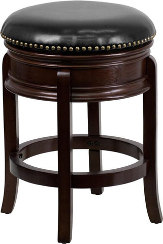 Flash Furniture TA-68824-CA-CTR-GG 24'' Backless Cappuccino Wood Counter Height Stool with Black Leather Swivel Seat - Peazz Furniture