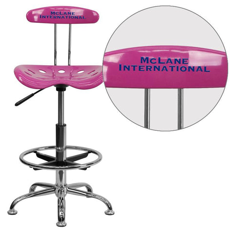 Flash Furniture LF-215-CANDYHEART-EMB-VYL-GG Personalized Vibrant Candy Heart and Chrome Drafting Stool with Tractor Seat - Peazz Furniture
