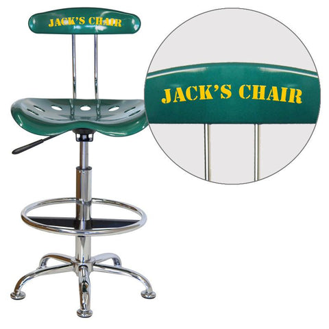 Flash Furniture LF-215-GREEN-EMB-VYL-GG Personalized Vibrant Green and Chrome Drafting Stool with Tractor Seat - Peazz Furniture