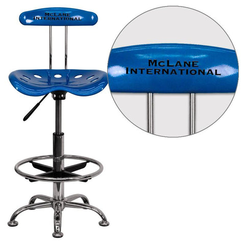 Flash Furniture LF-215-BRIGHTBLUE-EMB-VYL-GG Personalized Vibrant Bright Blue and Chrome Drafting Stool with Tractor Seat - Peazz Furniture