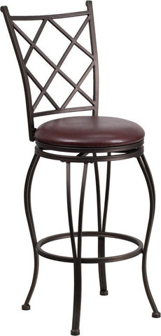 Flash Furniture BS-6203-29-BN-GG 29'' Brown Metal Bar Stool with Brown Leather Swivel Seat - Peazz Furniture