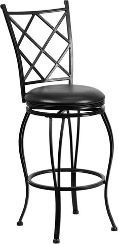 Flash Furniture BS-6203-29-BK-GG 29'' Black Metal Bar Stool with Black Leather Swivel Seat - Peazz Furniture