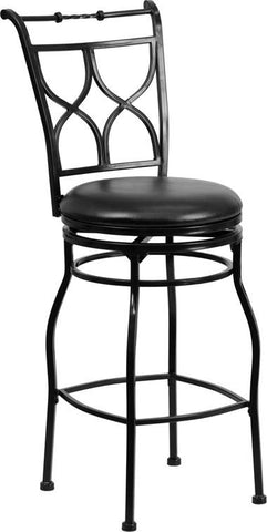 Flash Furniture BS-6317-29-BK-GG 29'' Black Metal Bar Stool with Black Leather Swivel Seat - Peazz Furniture