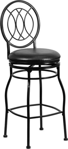 Flash Furniture BS-6309-29-BK-GG 29'' Black Metal Bar Stool with Black Leather Swivel Seat - Peazz Furniture