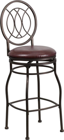 Flash Furniture BS-6309-29-BN-GG 29'' Brown Metal Bar Stool with Brown Leather Swivel Seat - Peazz Furniture