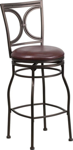 Flash Furniture BS-6023-29-BN-GG 29'' Brown Metal Bar Stool with Brown Leather Swivel Seat - Peazz Furniture