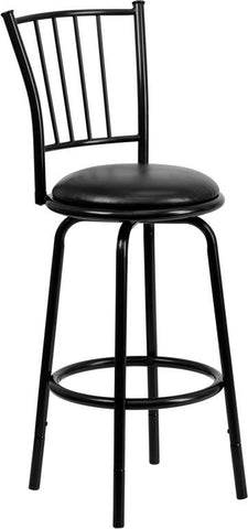 Flash Furniture BS-6109-24-29-BK-GG 29'' Black Metal DUAL Height Counter or Bar Stool with Black Leather Swivel Seat - Peazz Furniture