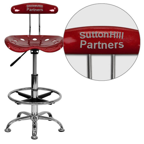 Flash Furniture LF-215-WINERED-EMB-VYL-GG Personalized Vibrant Wine Red and Chrome Drafting Stool with Tractor Seat - Peazz Furniture