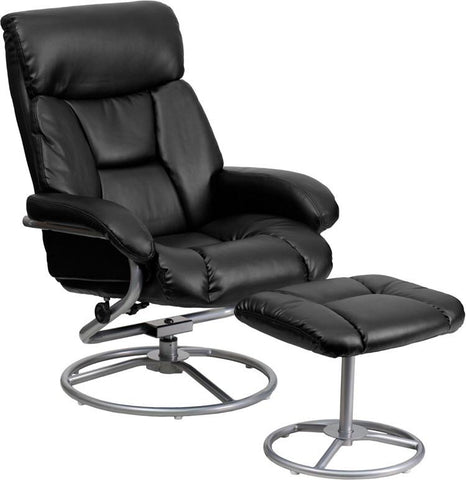 Flash Furniture BT-70230-BK-CIR-GG Contemporary Black Leather Recliner and Ottoman with Metal Base - Peazz Furniture