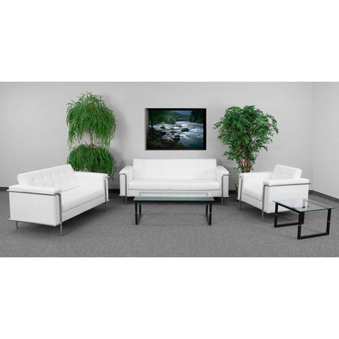 Flash Furniture ZB-LESLEY-8090-SET-WH-GG HERCULES Lesley Series Reception Set in White - Peazz Furniture