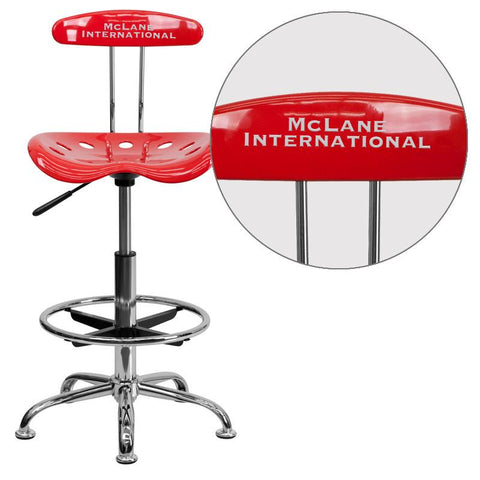 Flash Furniture LF-215-CHERRYTOMATO-EMB-VYL-GG Personalized Vibrant Cherry Tomato and Chrome Drafting Stool with Tractor Seat - Peazz Furniture