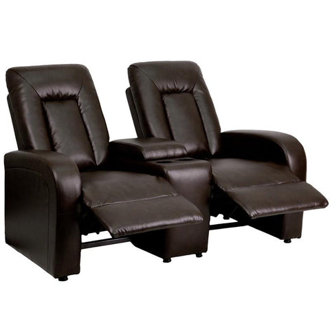 Flash Furniture BT-70259-2-BRN-GG Brown Leather 2-Seat Home Theater Recliner with Storage Console - Peazz Furniture