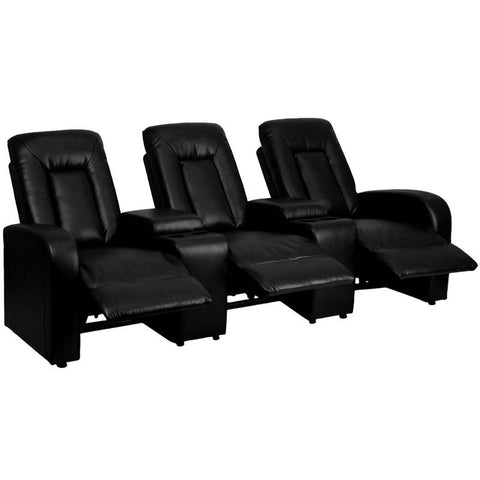 Flash Furniture BT-70259-3-BK-GG Black Leather 3-Seat Home Theater Recliner with Storage Consoles - Peazz Furniture