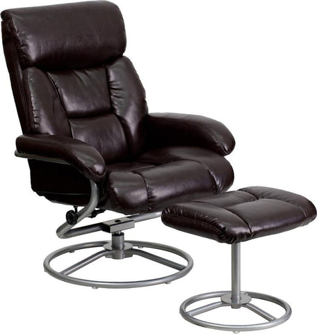 Flash Furniture BT-70230-BRN-CIR-GG Contemporary Brown Leather Recliner and Ottoman with Metal Base - Peazz Furniture