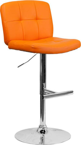 Flash Furniture DS-829-ORG-GG Contemporary Tufted Orange Vinyl Adjustable Height Bar Stool with Chrome Base - Peazz Furniture