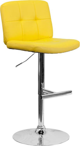 Flash Furniture DS-829-YEL-GG Contemporary Tufted Yellow Vinyl Adjustable Height Bar Stool with Chrome Base - Peazz Furniture