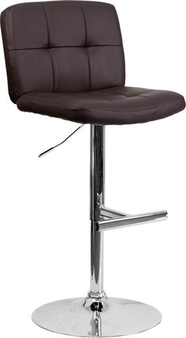 Flash Furniture DS-829-BRN-GG Contemporary Tufted Brown Vinyl Adjustable Height Bar Stool with Chrome Base - Peazz Furniture