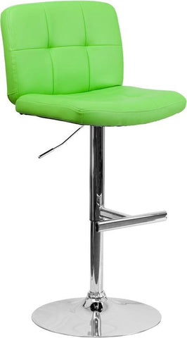 Flash Furniture DS-829-GRN-GG Contemporary Tufted Green Vinyl Adjustable Height Bar Stool with Chrome Base - Peazz Furniture